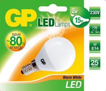 GP LED Mini Birne E14 2W / 15W Globe Warmweiß 2900K Lampe Glühbirne Leuchtmittel