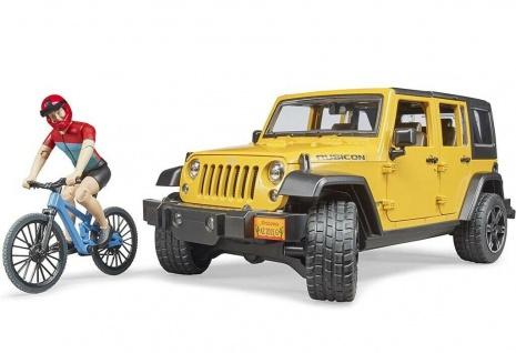 Bruder 2543 Jeep Wrangler Rubicon Unlimited Modell-Auto Mountainbike und Fahrer