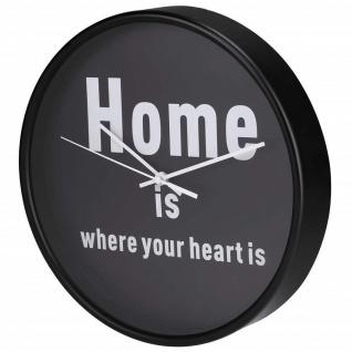 Hama Design Wanduhr HG-260 geräuscharm mit Spruch moderne Wand Uhr Schwarz 26cm