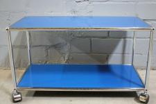 USM Haller Lowboard Regal Tisch Beistell-Tisch 75x35 blau Ablage