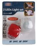 Beast 2 LEDs-Leuchten-Set Fahrrad-Licht Lampe weiß rot für Lenker Sattelstange