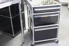 USM Haller Rollcontainer schwarz Ral 9011 3 Auszüge Top Schreibtisch-Container