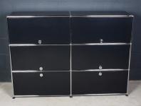 USM Haller Akten-Regal 6 Fächer 2 Klappen 4 Garagen-Türen Büro-Schrank schwarz
