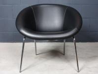Walter Knoll Designer Lounge Chair Stuhl 369 Leder schwarz 50er Schalen-Sessel