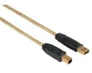 Hama 1, 8m Gold-Line Premium USB-Kabel 2.0 Anschlusskabel USB-A auf USB-B-Stecker
