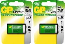 GP 2x 9V Block Akku ReCyko 1000x wiederaufladbar 6LR61 6F22 Batterie 9V-Block