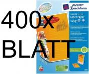 400 Blatt 120g A4 Avery Zweckform Colour-Laser Papier Superior weiß matt Drucker