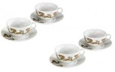 4x Xavax Rolling Stripes Cappuccino-Tassen 4x Tasse + Untersetzer Kaffee-Tassen
