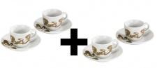 4x Set Xavax Rolling Stripes Espresso-Tassen 4x Tasse mit Untersetzer Tassen