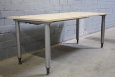 Schärf Schreibtisch Buche Silber 180x80cm Holz-Tisch Arbeitsplatz Bürotisch