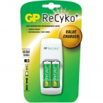 GP ReCyko PACK Ladegerät + 2x AA-Akku HR6 2050mAh Stecker-Ladegerät AA/AAA Lader