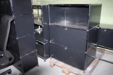 USM Haller Akten-Regal Sideboard 3 Fächer + 2 Auszüge Druckerport Ablage schwarz