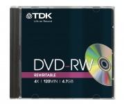 TDK PACK 5x DVD-Rohlinge 4.7 GB 120 Min. 4x DVD-RW Rohling Leer-DVD Jewel-Case