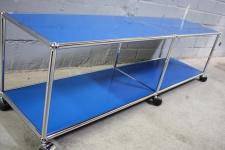 USM Haller Lowboard Regal Medienboard blau Rollen Sideboard 150er