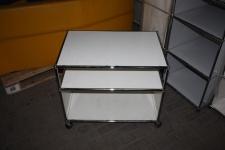 USM Haller Drucker-Wagen Fax Regal Sideboard auf Rollen 2 Fächer weiß Ablage