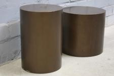 Designer Hocker 2er Set braun Ablage Lounge Couchtisch Sofatisch Sofa Tisch