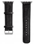 Hama Uhren-Armband Uhren-Band Velour Style Schwarz für Apple Watch iWatch 38mm