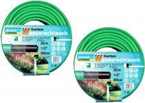 """Aqua Garden Pack 2x 20m Gartenschlauch Wasserschlauch Schlauch 0, 5 1/2"""" 1/2 Zoll"""