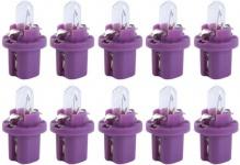 Hella 10x Glühlampe 12V 0, 4W BX8, 5d Lila Kunststoffsockel-Birne BAX Tacho-Lampe