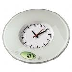 Xavax Küchenwaage digital Pauline mit Uhr 3000g/1g Glas Küchen Waage Feinwaage