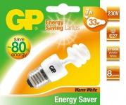 GP Energiespar-Lampe E27 7W / 33W Spiral Warmweiß Lampe Glüh-Birne Mini Spirale
