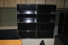USM Haller Highboard Regal 2 Auszüge + Klappen schwarz Aktenregal Regalwand