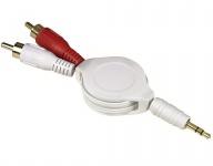 Hama Roll-Up Adapter-Kabel 3, 5mm Klinke - 2x Cinch-Stecker Klinken-Kabel AUX RCA