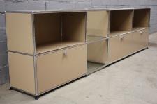 USM Haller Sideboard 2, 75m mit 8 Fächern und 3 Klappen beige Regal 3x Glasboden