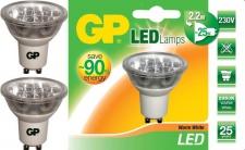 2x GP LED Strahler GU10 2, 2W / 25W Reflektor Warmweiß Lampe Birne Leuchtmittel