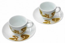 Xavax Rolling Stripes Espresso-Tassen Set 2x Tasse mit Untersetzer Tassen Teller