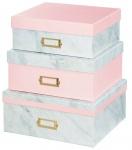 Hama Design Aufbewahrungs-Boxen Set 3x Deko-Box Mamor-Optik Geschenk-Box Karton