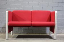 Wilkhahn Executive Sofa Cubis 831/5 rot Stoff Entwurf aus 1990