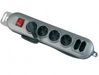 4+2 Mehrfach-Stecker Steckdosenleiste Mehrfachsteckdose + Schalter Steckerleiste