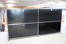 USM Haller Sideboard Regal mit 1 Klappe 2 Vollauszügen schwarz 50er Tiefe