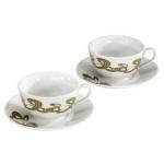 Xavax Rolling Stripes Cappuccino-Tassen Set 2x Tasse + Untersetzer Kaffee-Tassen