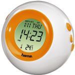Hama LCD Thermometer TC-300 Wecker Uhr Nachtlicht Digital Retrolook Orange/Weiß