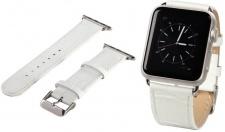 Hama Uhren-Armband Uhren-Band Croco Style Weiß Kroko für Apple Watch iWatch 38mm