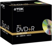 TDK PACK 5x DVD-Rohlinge 8.5 GB Double Layer 240 Min. 8x DVD+R DL Leer-DVD Case