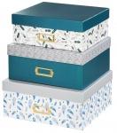 Hama Aufbewahrungs-Boxen 3er Set + Deckel Papp-Schachtel Kiste Stapel Regal-Box
