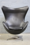 Fritz Hansen EGG Chair Design by Arne Jacobsen Sessel Stuhl Leder schwarz Top