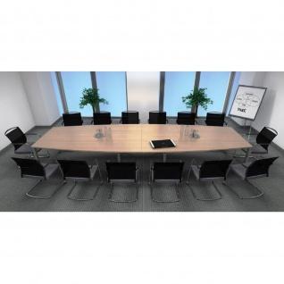 Konferenztisch Bürotisch E10 Toro Rundrohrgestell höheneinstellbar Alu, weiß, dkl.grau schwarz - Vorschau 4
