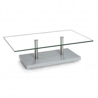Moderner Couchtisch Holz/Edelstahl/Klarglas mit Rollen 110x70x40cm