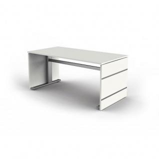 Sitz-/ Stehtisch Schreibtisch Form 4, 160x80cm C-Fuß-Gestell Typ B höhenverstellbar
