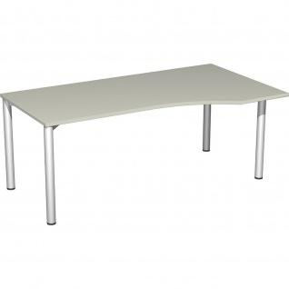 Gera PC-Schreibtisch Bürotisch 4 Fuß Flex Freiform rechts 1800x800/1000mm ahorn buche lichtgrau weiß - Vorschau 3