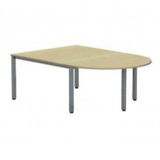 Anbautisch für Konferenztisch Bürotisch E10 Toro D:140 cm Rundrohrgestell Höhe 740 mm Alu, weiß, dkl.grau schwarz - Vorschau 2
