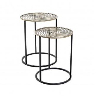 Beistelltisch Tisch Metall schwarz-antik bronze 2er Set