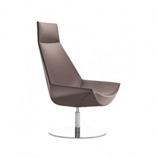 Design Lounge Sessel Mehrzwecksessel Kayak Fußsäule und Bodenteller verchromt einfarbig hohe Lehne