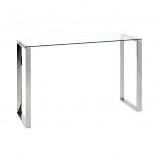 Highboard Beistelltisch Glastisch Edelstahl/Klarglas 120x40x78cm