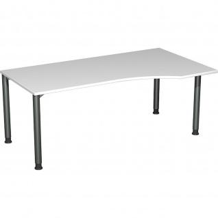 Gera PC-Schreibtisch Bürotisch 4 Fuß Flex Freiform rechts höhenverstellbar 1800x800/1000x680-800mm ahorn buche lichtgrau weiß - Vorschau 5