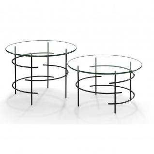 Moderner Couchtisch Beistelltisch Metall schwarz/Klarglas Tischplatte rund D:60cm H:46cm